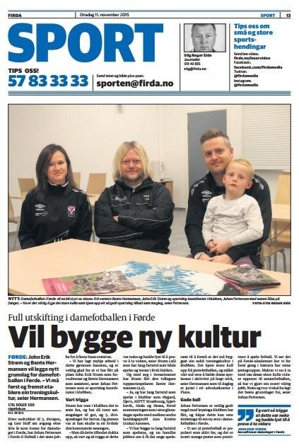 2015.11.11 Firda om John Erik Strøm og Bente Hermansen som overtek A-damelaget i FIL Fotball.jpg